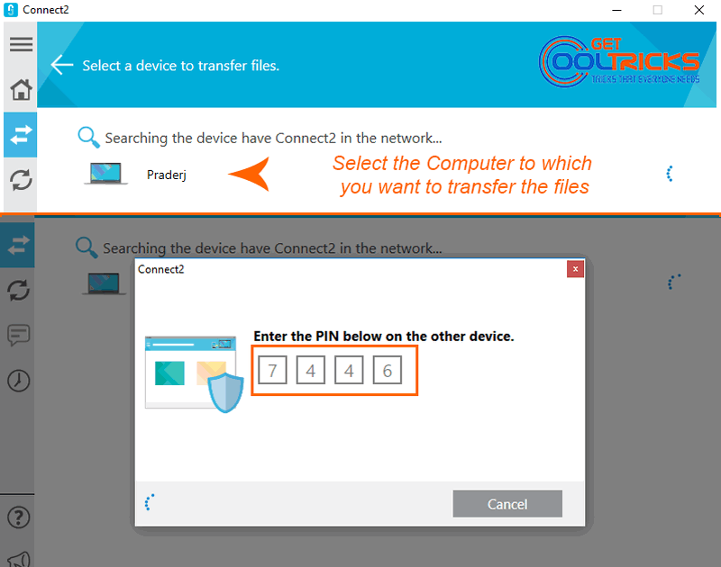 Transfer files to another PC using Connect2